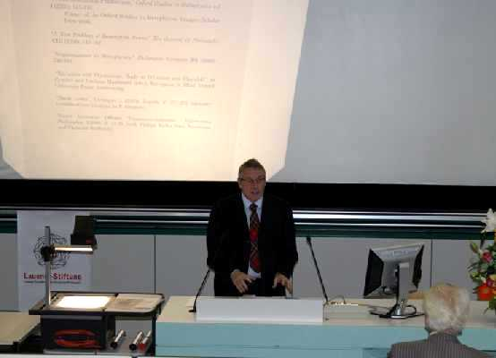 Prof. Dr. Alan Weir, Laudatio for Dr. Stephan Leuenberger